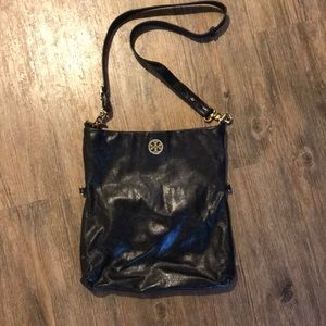 Tory Burch Foldover Crossbody Black Leather Bag